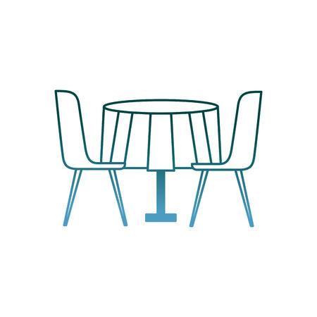 가구 레스토랑 쌍 의자와 라운드 테이블 벡터 일러스트 그라디언트 색상 디자인
