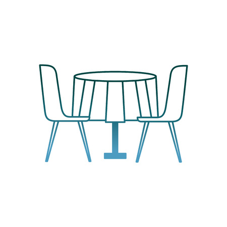 furniture restaurant pair chair and round table vector illustration gradient color design Ilustração