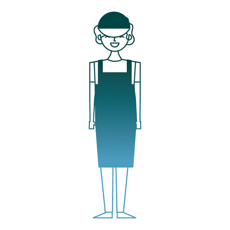 female barista standing wearing apron and cap vector illustration gradient color design