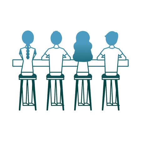 group people sitting on stool viewed from the back vector illustration gradient color design