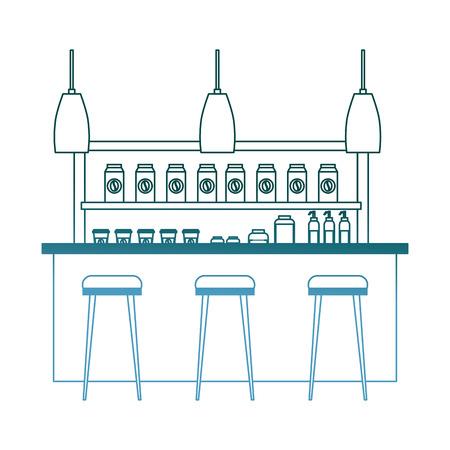 coffee shop interior products shelving counter lamps vector illustration gradient color design Illusztráció