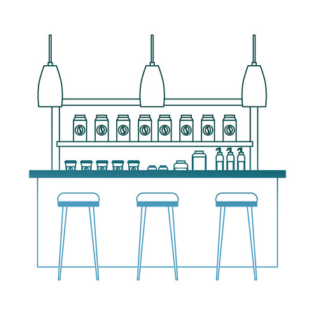 coffee shop interior products shelving counter lamps vector illustration gradient color design Illustration
