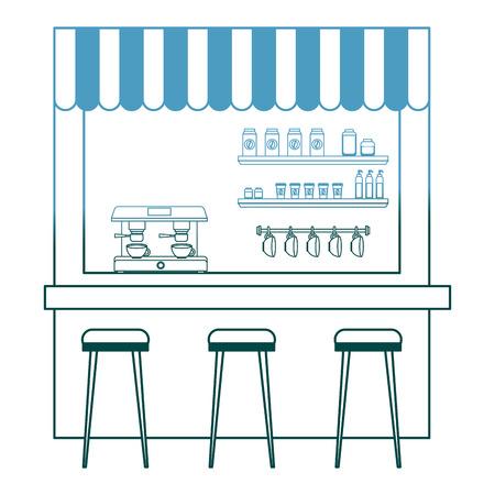 Coffee shop machine espresso tabourets et étagère vector illustration gradient color design Banque d'images - 97677943