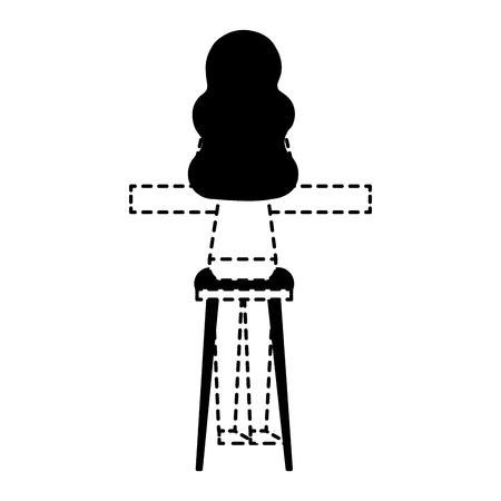 Vue arrière jeune femme assise sur un tabouret et un comptoir vector illustration ligne pointillée design Banque d'images - 97677950