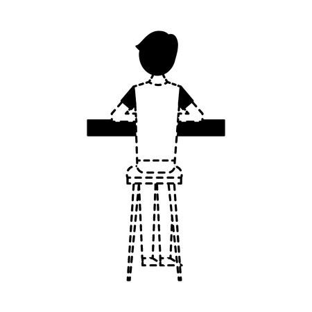 スツールとカウンターベクトルイラスト点線のデザインに座っているバックビュー漫画の男  イラスト・ベクター素材