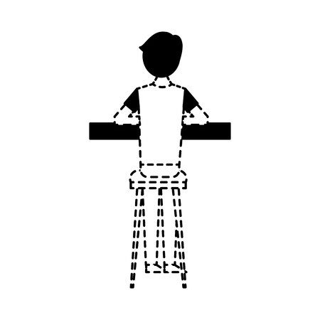 back view cartoon man sitting on stool and counter vector illustration dotted line design Illustration