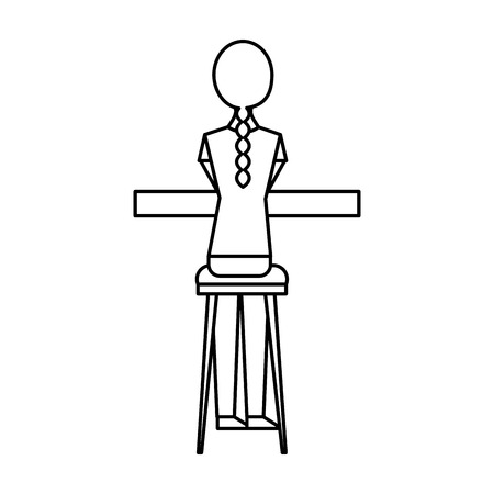 back view young woman sitting on stool and counter vector illustration outline design Illustration
