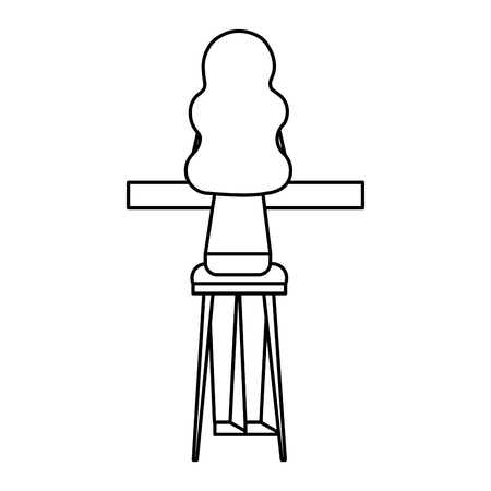 back view young woman sitting on stool and counter vector illustration outline design Vectores