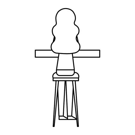 Vue arrière jeune femme assise sur un tabouret et un comptoir vector illustration contour design Banque d'images - 97677962