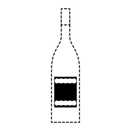 알코올 음료 주류 병 이미지 벡터 일러스트 레이 션 점선 디자인