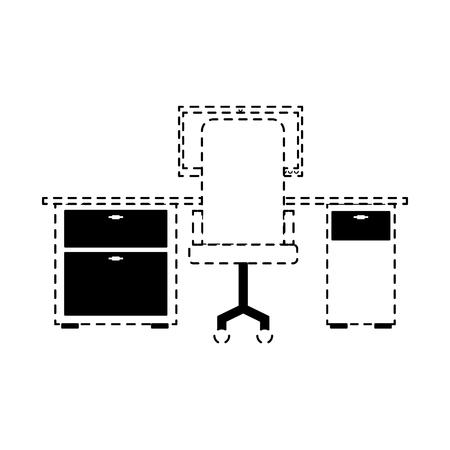 ワークスペースオフィスデスクコンピュータアームチェアビューバックベクトルイラスト点線デザイン 写真素材 - 97677971