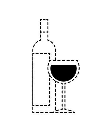 bottle liquor and wine cup image vector illustration dotted line design