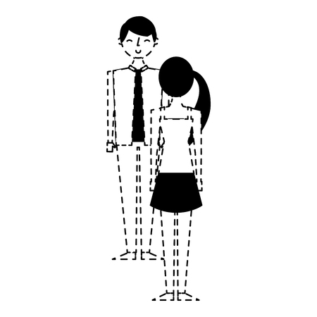 couple standing looking at each other vector illustration dotted line design