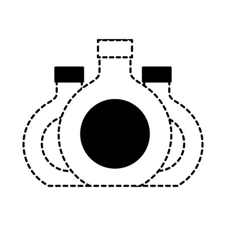 three round bottle liquor beverage vector illustration dotted line design Ilustrace