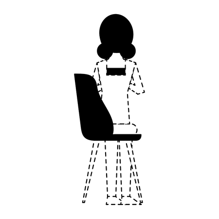 woman sitting in the chair back view vector illustration dotted line design Illustration