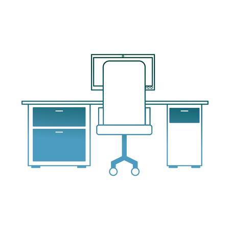 workspace office desk computer armchair view back vector illustration gradient color design