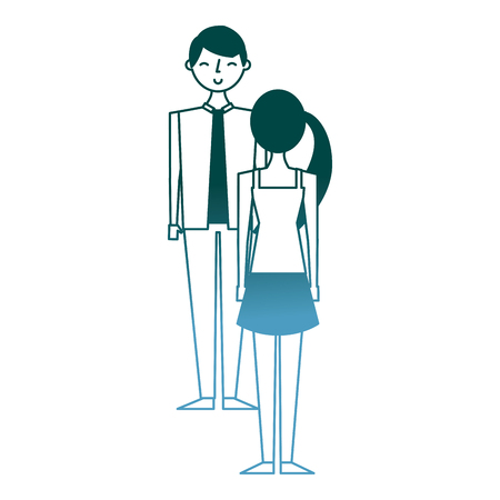 couple standing looking at each other vector illustration gradient color design