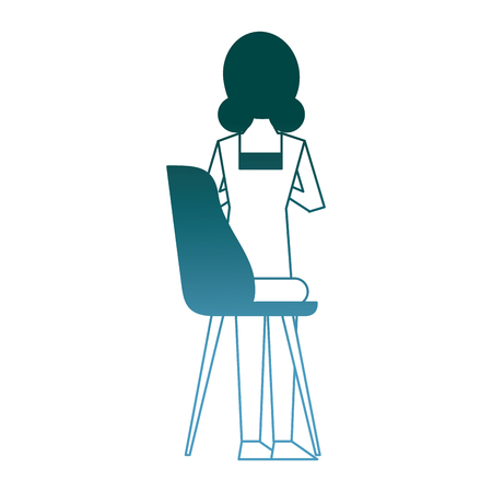 woman sitting in the chair back view vector illustration gradient color design Illustration