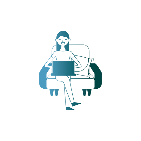 happy woman sitting in the sofa with her laptop vector illustration gradient color design