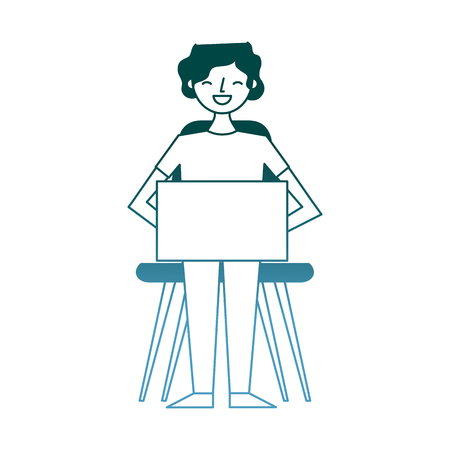 young man sitting using her laptop vector illustration gradient color design