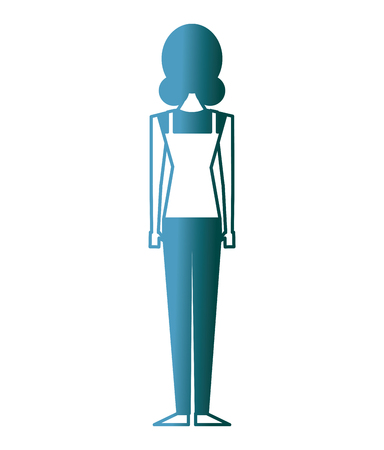 back view of woman standing character vector illustration gradient color design 일러스트