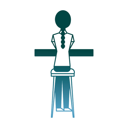 back view young woman sitting on stool and counter vector illustration gradient color design