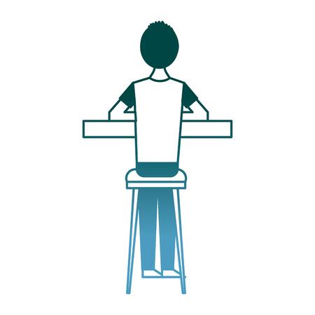 back view cartoon man sitting on stool and counter vector illustration gradient color design 版權商用圖片 - 97691902
