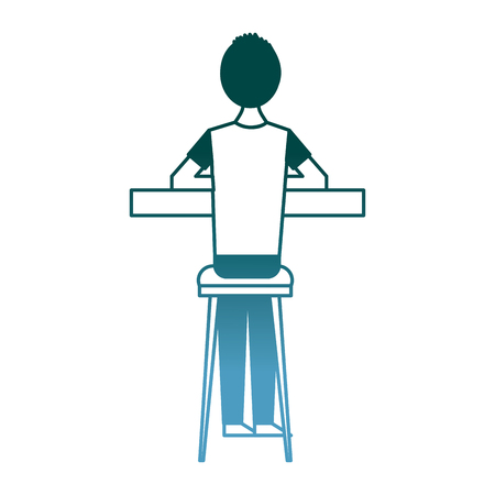 back view cartoon man sitting on stool and counter vector illustration gradient color design