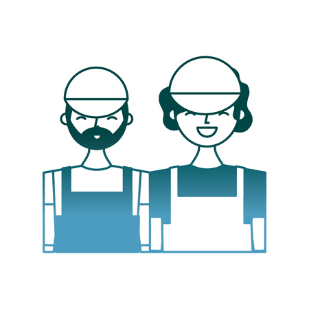 couple barista characters employees with apron and cap vector illustration gradient color design Illustration