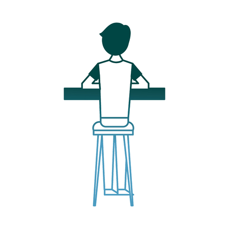 スツールとカウンターベクターイラストグラデーションカラーデザインに座っているバックビュー漫画の男