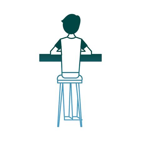Vue arrière, dessin animé, homme, séance, sur, tabouret, et, compteur, vecteur, illustration, gradient, couleur, conception Banque d'images - 97691907