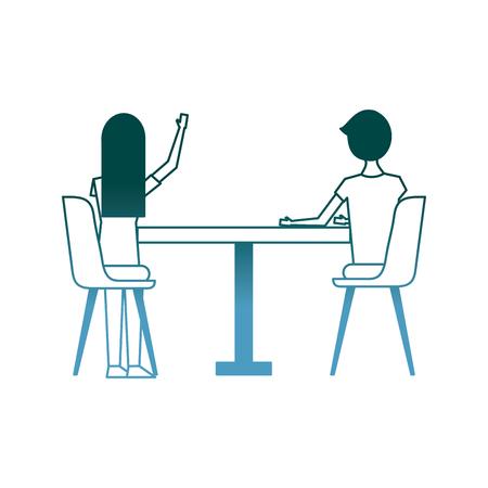 paar zittend op de stoelen en tafel gezien vanaf de achterkant vector illustratie kleurverloop ontwerp Stock Illustratie