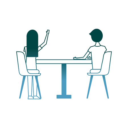 couple sitting on the chairs and table at view from the back vector illustration gradient color design Illustration