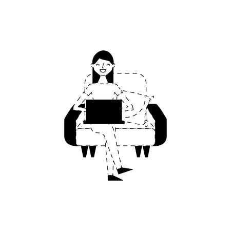 happy woman sitting in the sofa with her laptop vector illustration dotted line design Illustration