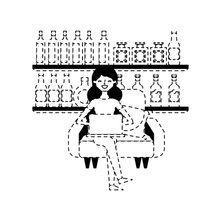 happy woman sitting in the sofa laptop and shelf with bottle glass beverages vector illustration dotted line design Standard-Bild - 97678003