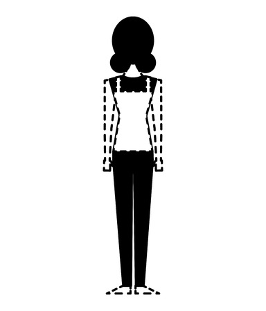 back view of woman standing character vector illustration dotted line design