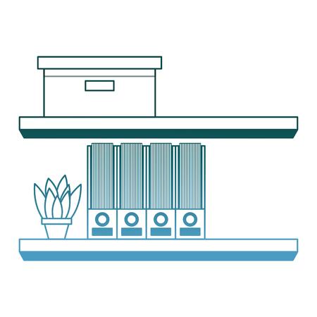 shelves carton box folder and plant in pot vector illustration gradient color design