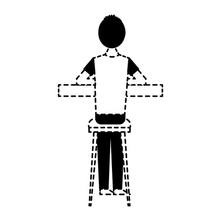 back view cartoon man sitting on stool and counter vector illustration dotted line design  イラスト・ベクター素材