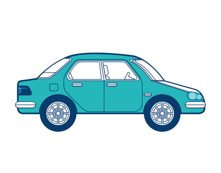 car vehicle transport sedan image vector illustration green and blue design Banco de Imagens - 97678018
