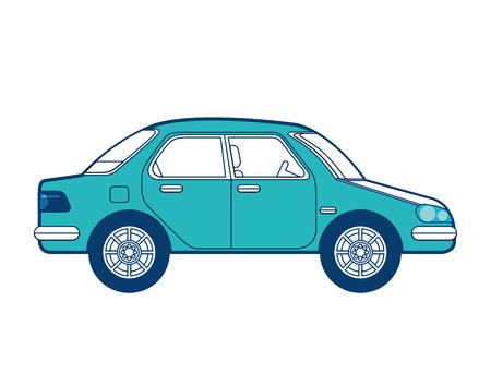 car vehicle transport sedan image vector illustration green and blue design Illustration