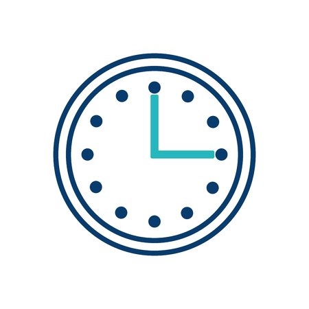 round clock time hour timer image vector illustration green and blue design
