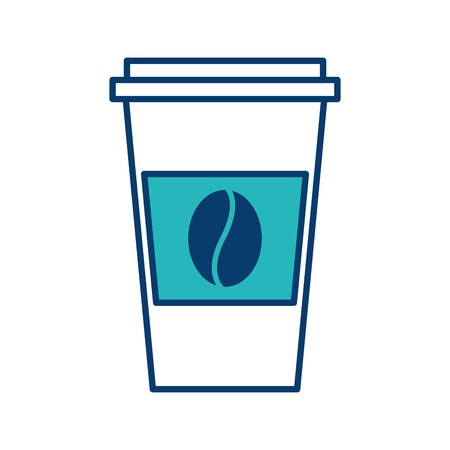disposable coffee cup icon with coffee bean takeaway vector illustration green and blue design Фото со стока - 97678025