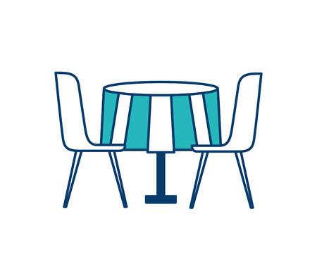 가구 레스토랑 쌍 의자와 라운드 테이블 벡터 일러스트 레이 션 녹색과 파란색 디자인