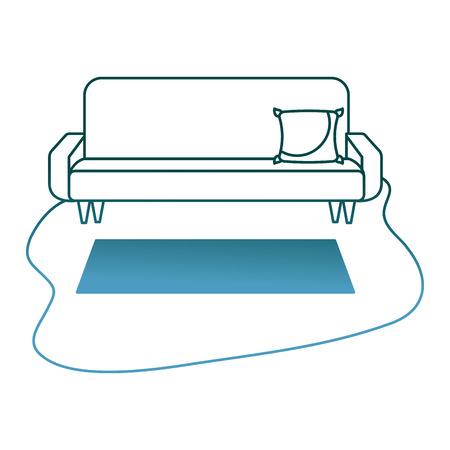 living room sofa cushion carpet furniture decoration interior vector illustration gradient color design