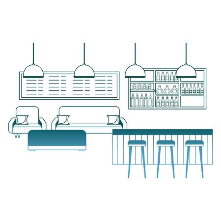 coffee shop interior counter stools sofa menu vector illustration gradient color design