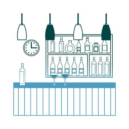 bar restaurant interior shelf counter beverage alcohol and glass cups vector illustration gradient color design Standard-Bild - 97691916