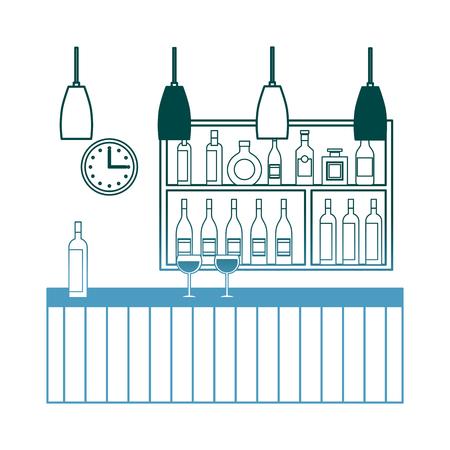 bar restaurant interior shelf counter beverage alcohol and glass cups vector illustration gradient color design Illustration