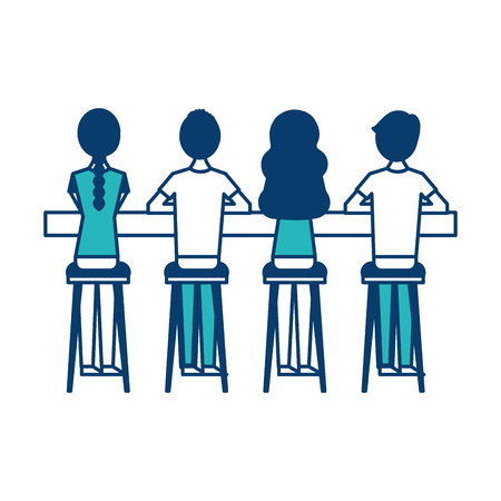 group people sitting on stool viewed from the back vector illustration green and blue design