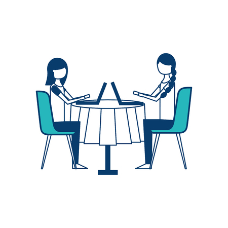 girls people sitting at the table using laptop vector illustration green and blue design