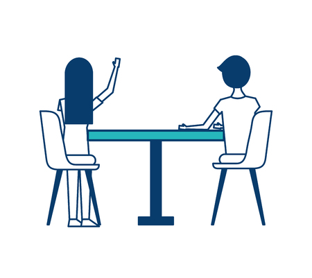 couple sitting on the chairs and table at view from the back vector illustration green and blue design Illustration